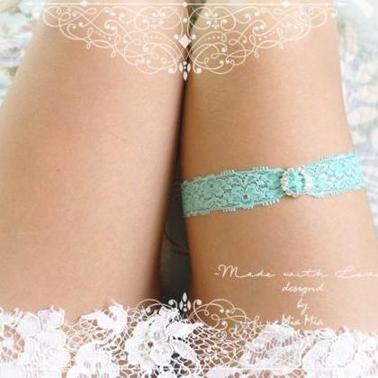 Mint Green lace Garter , bling rhin..
