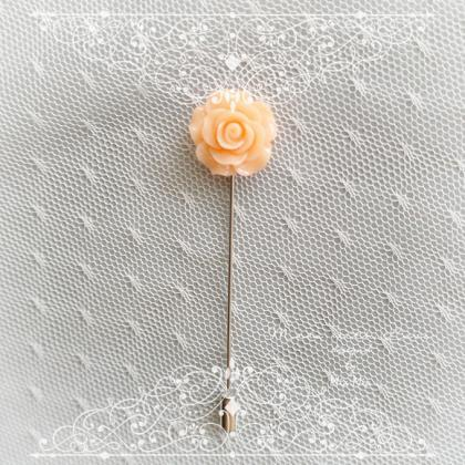 Small Flower Lapel Pin , Blush Cora..