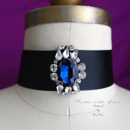 Victorian Choker Necklace, blue rhi..