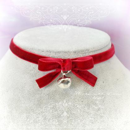 Necklace Choker Red Velvet Bow with..