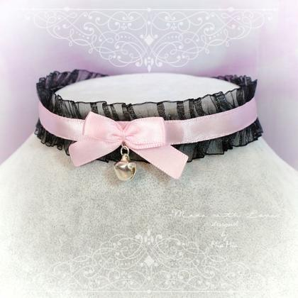 Choker Necklace Black lace Ruffles ..