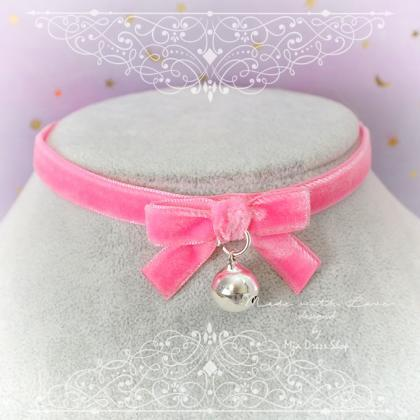 Necklace Choker Hot Pink Velvet Bow..