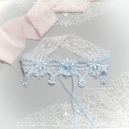 Luxury Light Blue Lace Pearl Somet..
