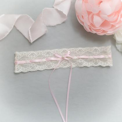 Ivory lace garter, Baby Pink Pearl ..