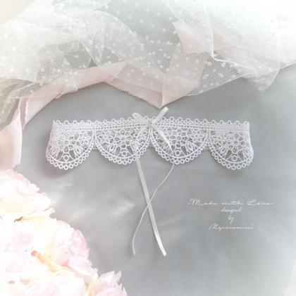 White Lace Wedding Garter , Rhines..