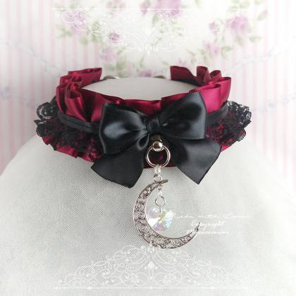 Burgandy Red Black Lace Choker Nec..