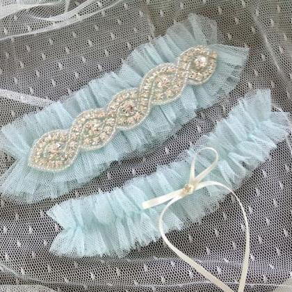 Set of 2 Light Blue Silk Tulle Rhin..