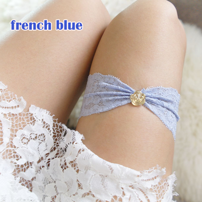 Simple garter, Something french Blue Little Gold Rose Lace Garter, Bridal Honeymoon Lingerie Keepsake Toss Wedding Single