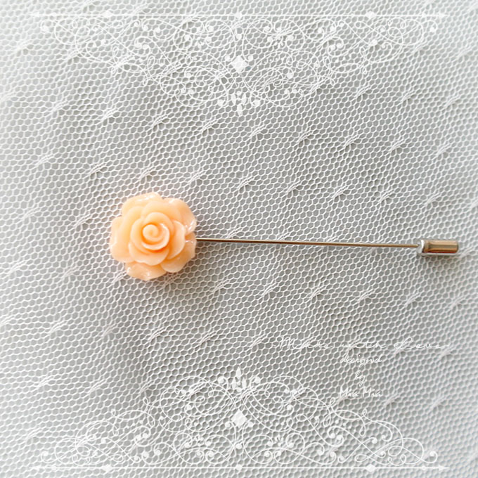 Small Flower Lapel Pin , Blush Coral Rose Men's Boutonniere , wedding Lapel pin, men suit pin , tie pin brooch accessories , cufflinks Groom