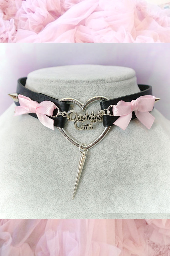 BDSM Daddys Girl Choker Necklace Black Faux Leather Heart Spikes Pink Bow Kitten Play Collar pastel goth Lolita Neko Cat DDLG