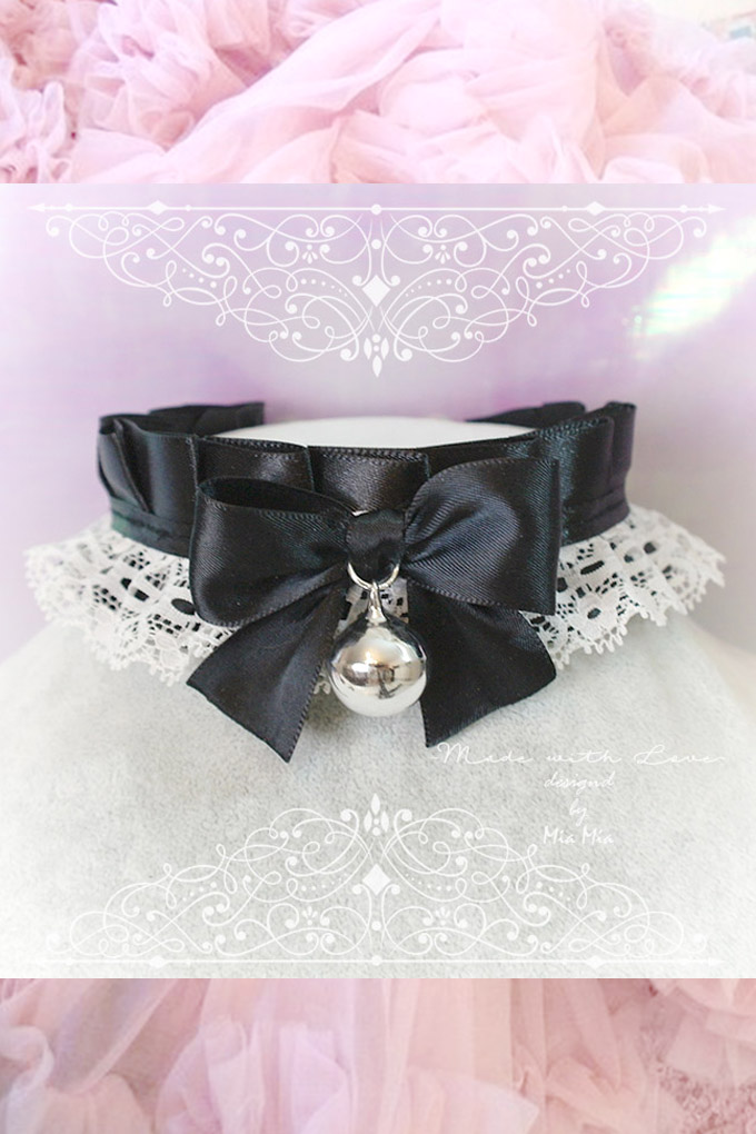Choker Necklace ,Kitten Play Collar, DDLG Black White Lace Ruffles Bow Bell,Daddys Girl Jewelry ,Maiden Lolita ,Fairy Kei, Rule Play,Gothic