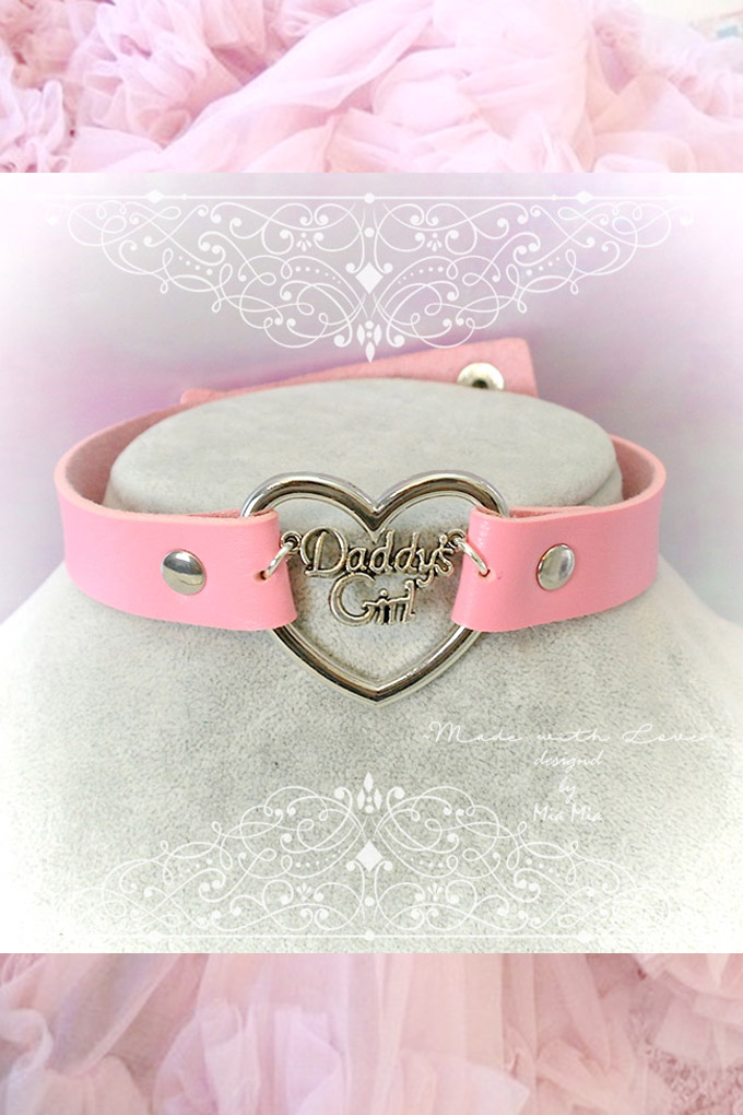 Choker Necklace Bdsm Daddys Girl Pink Faux Leather Heart Kitten