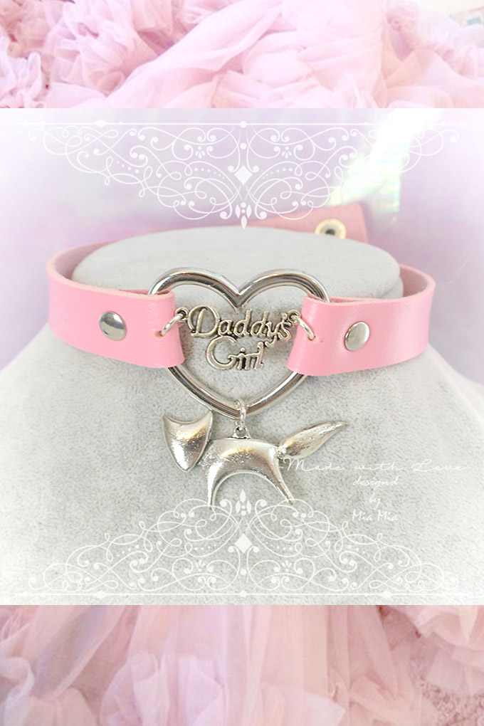 Choker Necklace ,Kitten Play Collar Pink Faux Leather Daddys Girl Heart Little Fox , BDSM DDLG Kitty play Collar Lolita choker