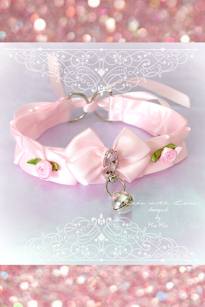 BDSM Daddys Girl Choker Necklace Collar Purple Faux Leather Heart Bell Rose Spikes Kitten Play Collar pastel goth Lolita Neko Cat DDLG