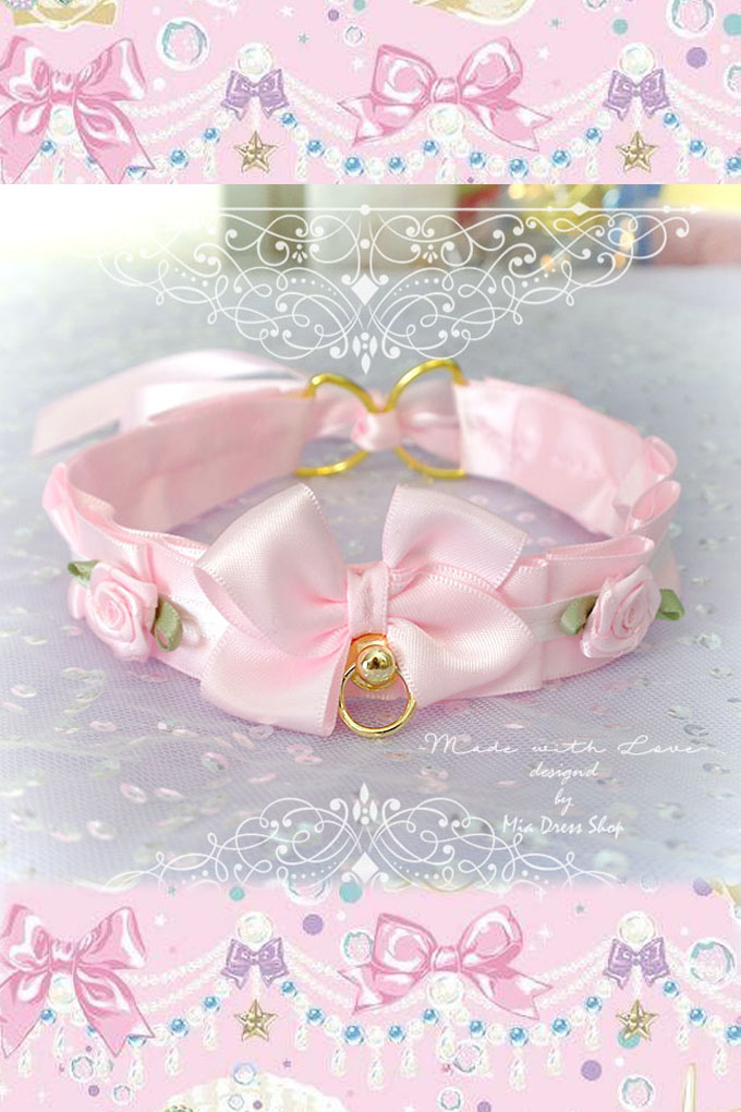Choker Necklace ,Kitten Pet Play Collar Cat Costume ,Baby Pink Satin Gold Harware O Ring Bow Rose ,Jewelry pastel goth Lolita Neko BDSM DDLG