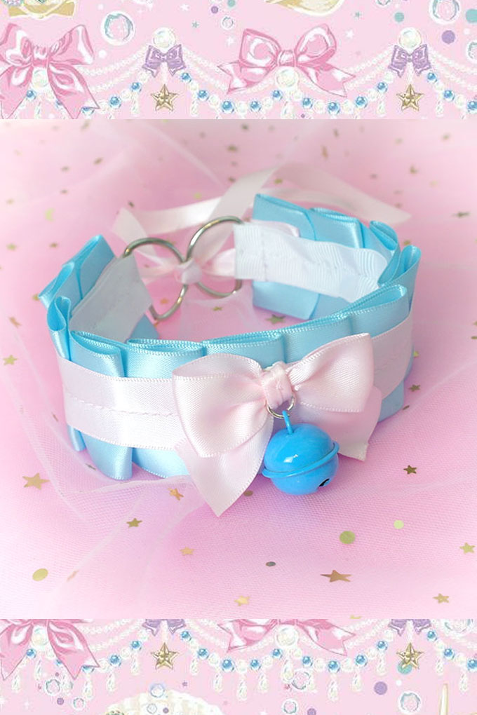 Choker Necklace ,Kitten Pet Rule Play Collar, DDLG Sky Blue Baby Pink Bow Blue Bell ,Jewelry pastel goth Lolita Daddys Girl BDSM