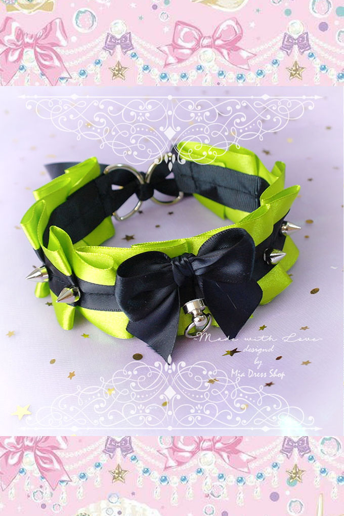 Choker Necklace ,Kitten Pet Play Collar Tug Proof , Neon Lime Green Black Bow O Ring Spikes , Neko BDSM DDLG Daddys Girl Fairy Kei Jewelry