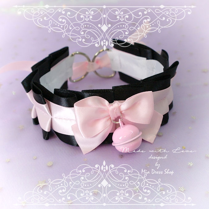 Choker Necklace ,Kitten Pet Play Collar ,Little DDLG Baby Pink Black Bow Pink Bell, Jewelry pastel goth Lolita Daddys Girl BDSM Fairy Kei
