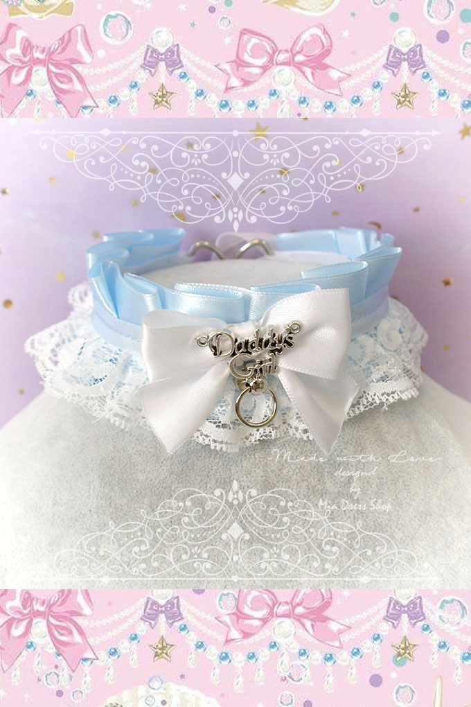 Choker Necklace ,Kitten Pet Play Collar, DDLG Baby Blue White Lace Bow O Ring Tug Proof ,Daddys Girl Jewelry ,pastel Lolita ,Fairy Kei, BDSM