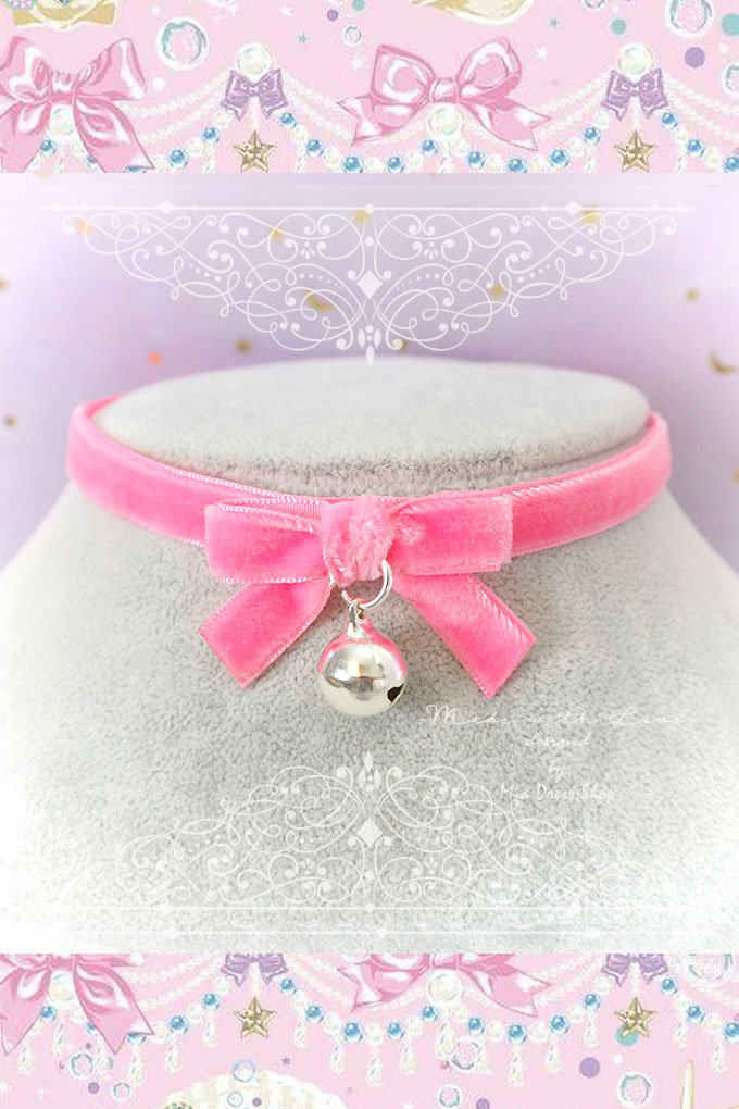 Necklace Choker Hot Pink Velvet Bow Bell , Kitten play collar, Lolita cute neko collar DDLG Daddys Baby Girl jewelry
