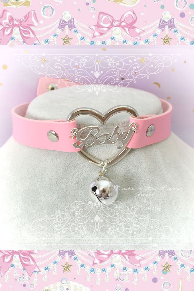 BABY GIRL Choker Necklace Collar Pink Faux Leather Heart Bell , Adult Baby , Kitten Play Collar pastel goth Lolita DDLG