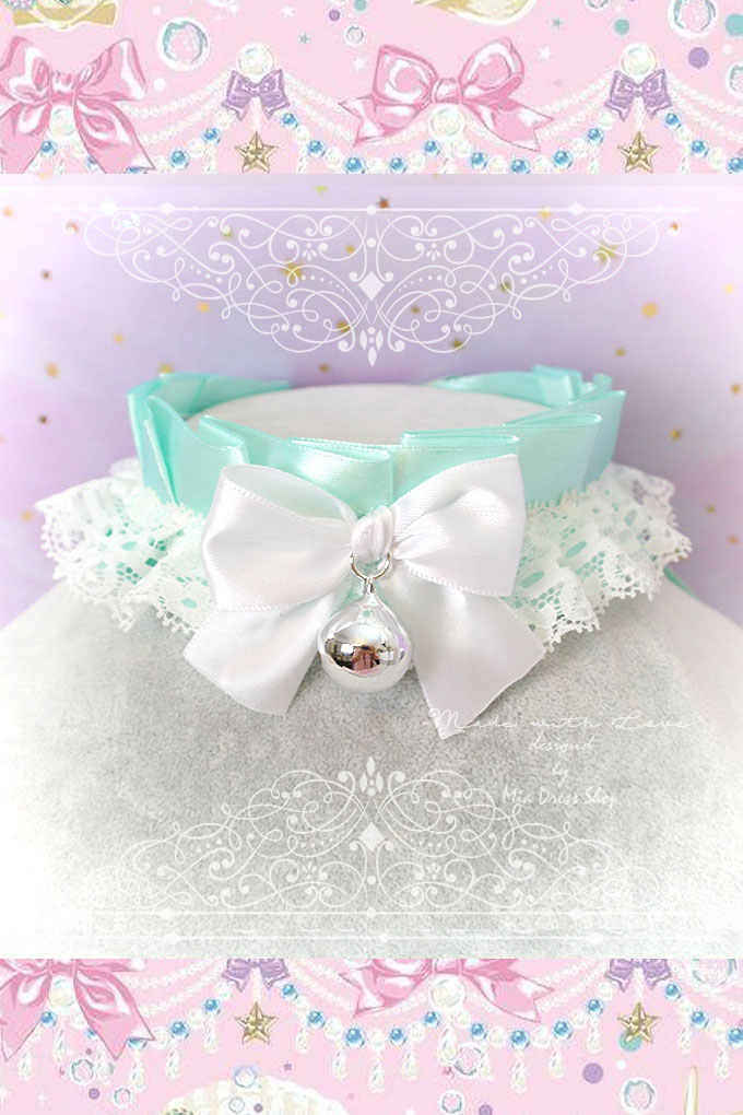 Choker Necklace ,Kitten Play Collar ,Seafoam Mint Green White Lace Ruffles White Bow Bell, BDSM Adult Baby pastel Lolita DDLG Daddys Girl