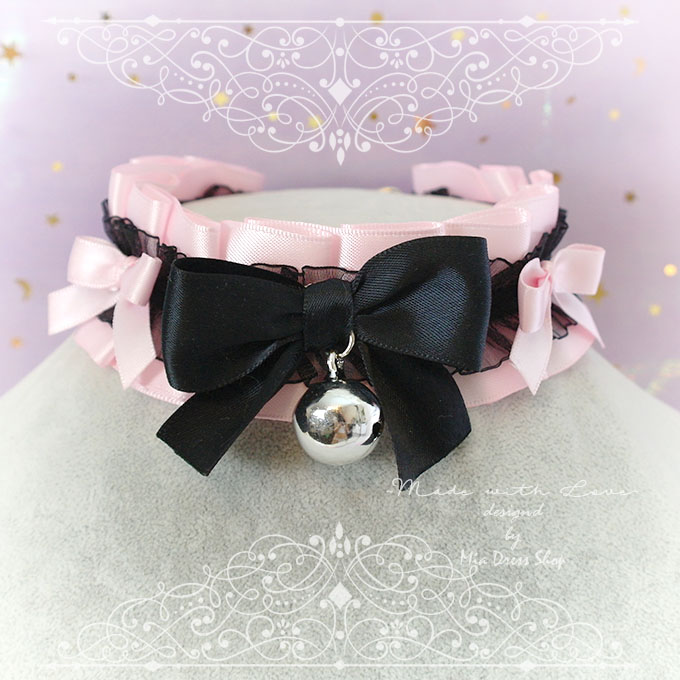Choker Necklace ,Kitten Pet Play Collar, DDLG Baby Pink Black Lace Ruffles Little Bow Bell , Neko Jewelry pastel Lolita Daddys Girl BDSM