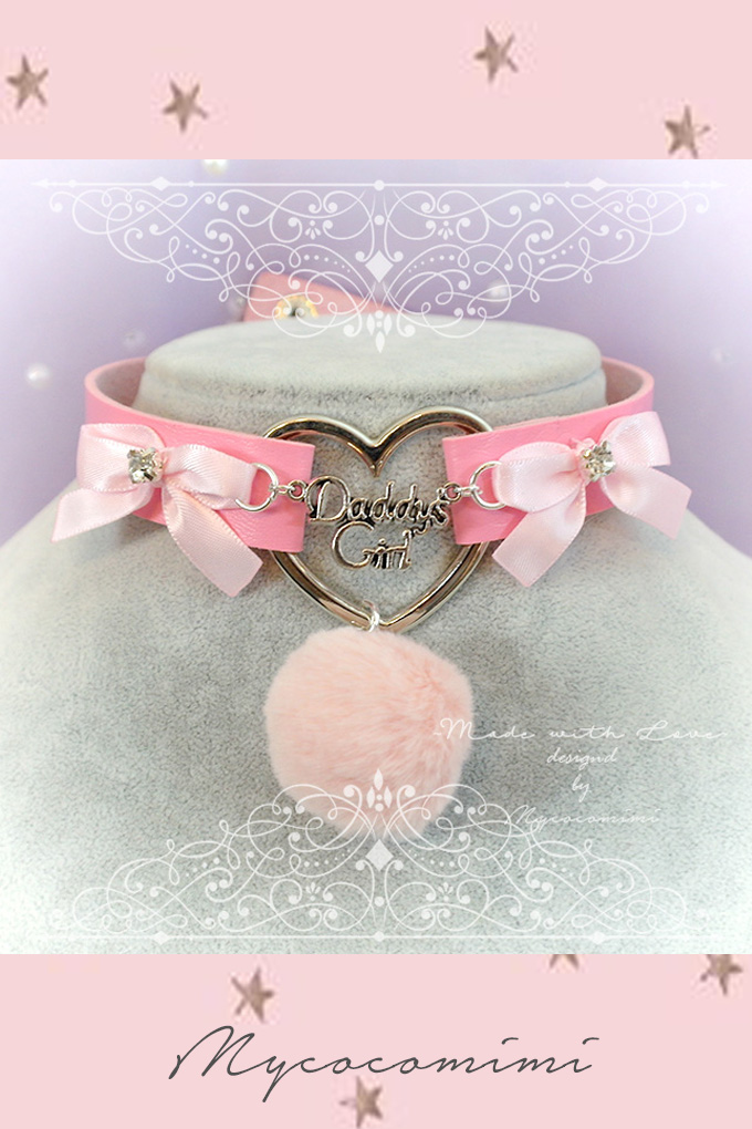 Winter Choker Necklace , Daddys Girl Pink Faux Leather Heart Pink Bow Faux Fur Ball , Kitten Play Collar pastel goth Lolita DDLG BDSM Cute
