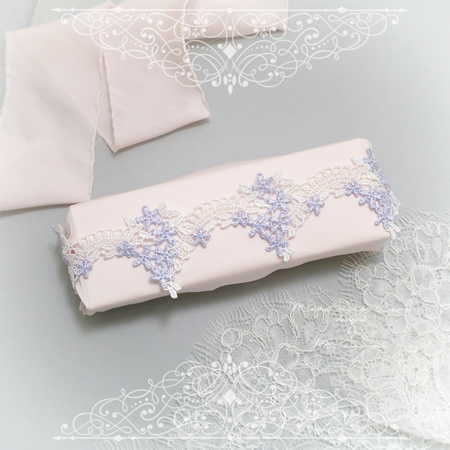 White Light Purple Lace Garter, Wedding Garter Bridal Bride Lingerie Keepsake Toss Elegance