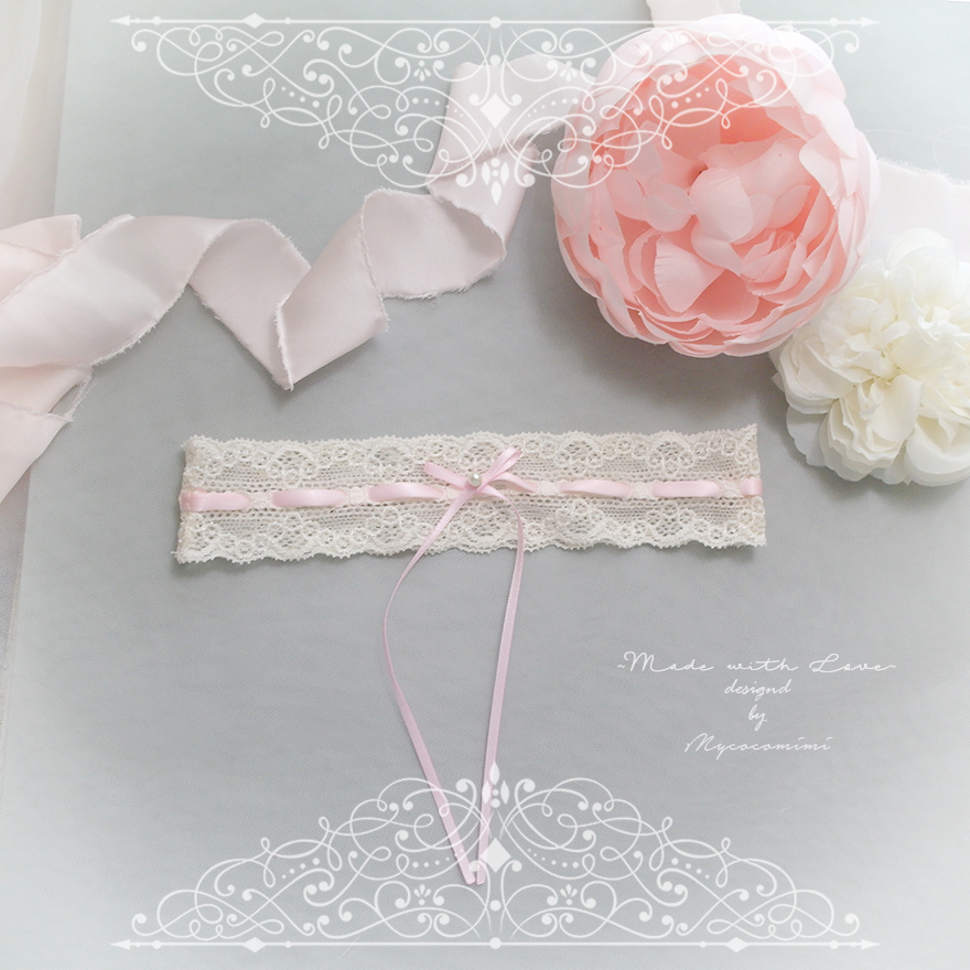 Ivory lace garter, Baby Pink Pearl bow, Victorian Bridal lingerie Wedding Garter Belt Prom Honeymoon Keepsake Toss