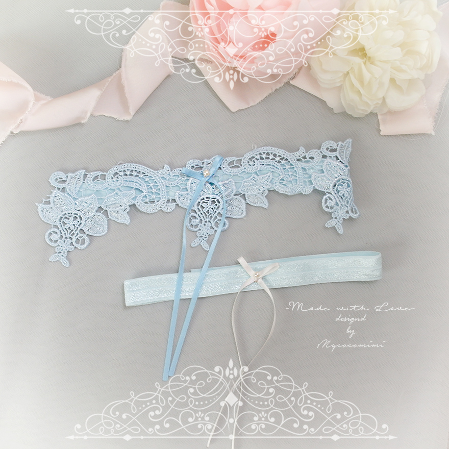 36d9ffb5d Light Blue Lace Something Blue Garter Set Pearl White Bow