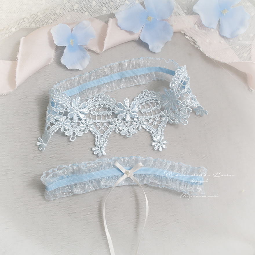 05103f1b8 Luxury Light Blue Lace Garter Set
