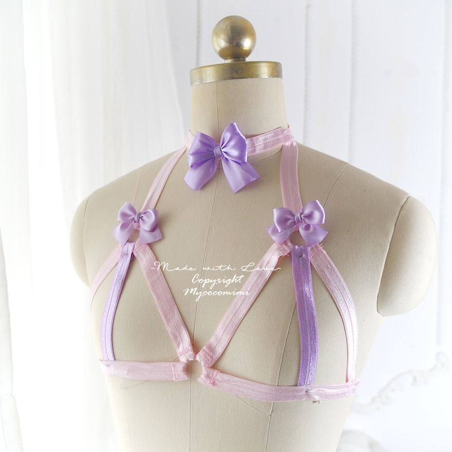 Baby Pink Lavender Purple Bow Body Harness Open Bra, DDLG Daddys Girl Stretch Cage Bondage Bra Bralette BDSM Lingerie Kawaii Lolita Fetish