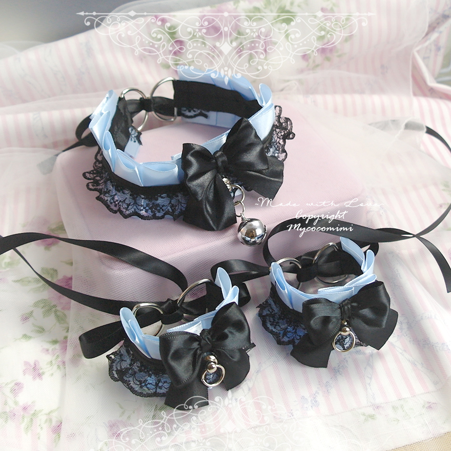 Kitten Pet Play Gear Collar and Cuffs Set , Daddys Girl Costume Choker Necklace Baby Blue Black Lace Bow Bell O Ring ,Jewelry BDSM DDLG