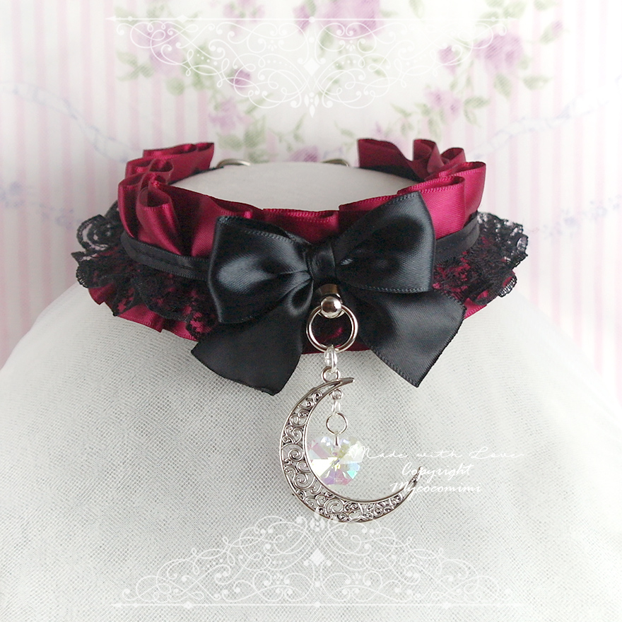 Burgandy Red Black Lace Choker Necklace ,Kitten Play Gear Collar , Bow Big Brescent Moon Heart Crystal Vampire Lolita Gothic, BDSM DDLG