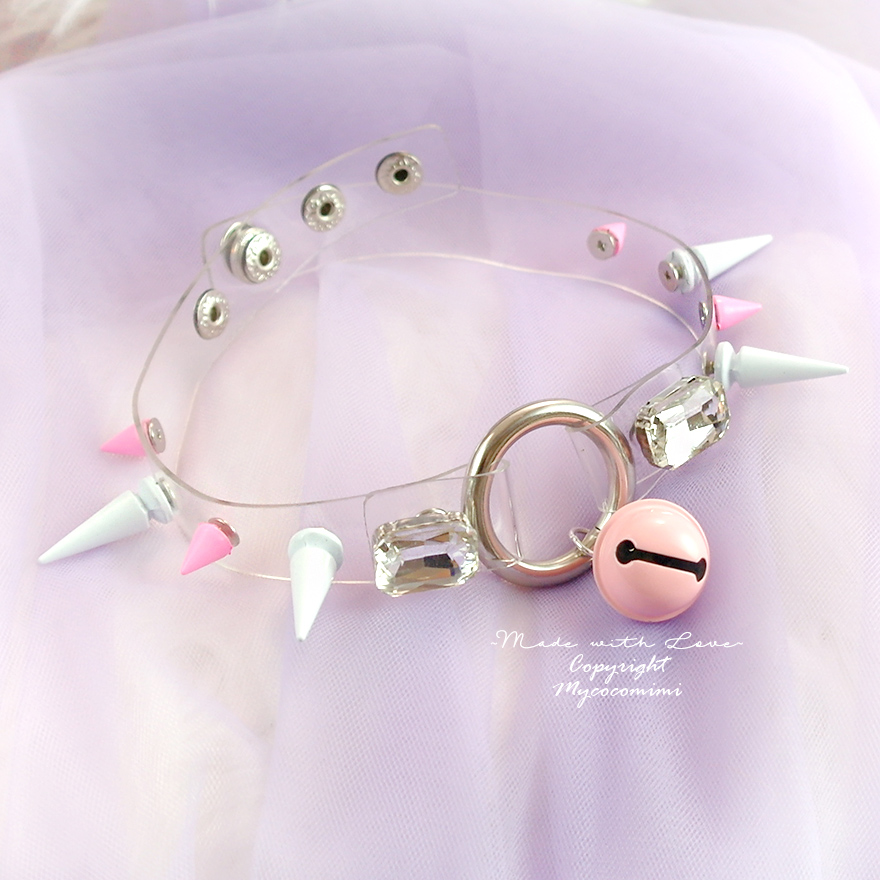 Princess BDSM Choker Necklace Collar ,Clear O Ring White Pink Spikes Bell Bling Rhinestone, Kitten Play Collar goth Punk Rock Goth Jewelry