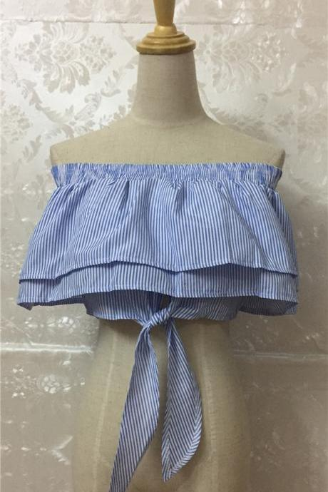Off shoulder blue and white striped frills crop top blouse Sexy 2017