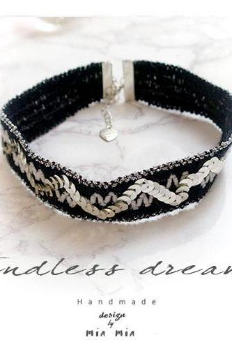boho gypsy choker necklace Black Wool bling Silver Sequins Tribal Handmade Punk Rock , Lolita cute Victorian Jewelry
