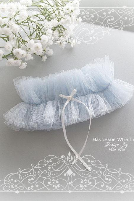 Light Blue Tulle Garter, Ruffles tutu Garter ,Something Blue , white pearl bow, Luxury Bridal Honeymoon Lingerie Keepsake Toss Lolita Cute