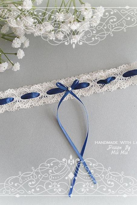 Off white lace navy blue bow garter, Something Blue , Victorian Bridal lingerie Wedding Garter Belt Prom Honeymoon Keepsake Toss