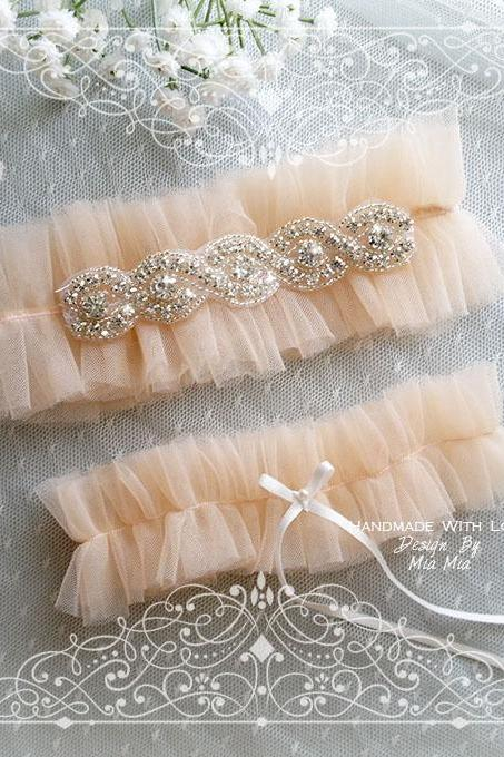Luxury Blush Champagne soft Silk Tulle Garter Set , rhinestone, white bow ,Ballerina Ruffles Tutu Bridal Lingerie Wedding ,ruff Bling