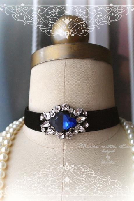 Victorian Choker Necklace, blue rhinestone, Black Velvet ,luxury style Jewelry Handmade , Gothic goth Gypsy Great Gatsby