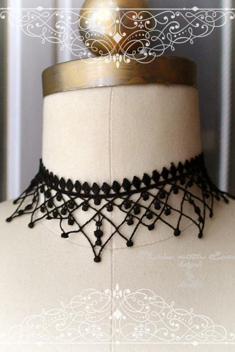 Choker Necklace Collar , Black Fringe Lace Chokers, Jewelry, Punk Rock , goth gothic ,steampunk Sexy