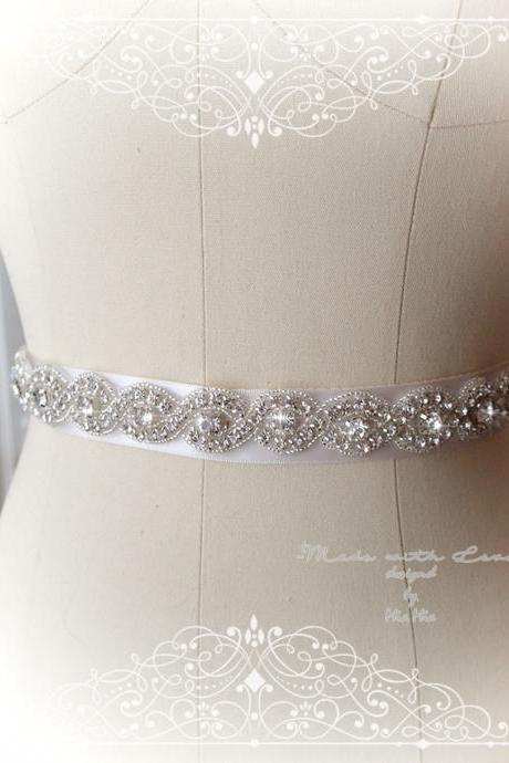 Ivory Satin rhinestone Skinny Sash Belt , Bridal Maternity Flower Girl Rustic Wedding Dress Accessories Dress Sash
