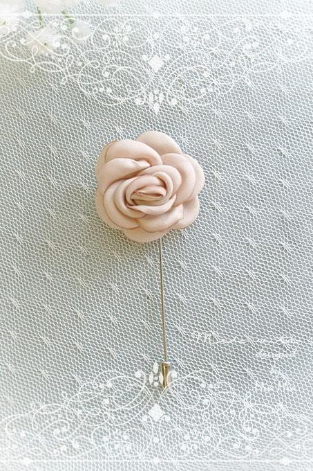 Champagne Satin Flower Men's flower Boutonniere Buttonhole for wedding,Lapel pin,hat pin,tie pin brooch accessories tie pin