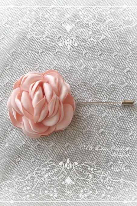 Blush Pink Flower Peony Satin Flower Men's Boutonniere wedding,Lapel pin,hat pin,tie pin brooch accessories , cufflinks Groom