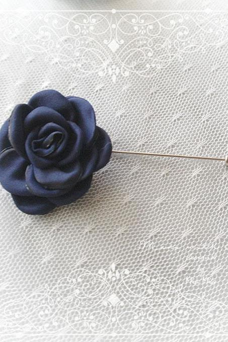 Flower Lapel Pin , Navy Blue Satin Men's Boutonniere , wedding Lapel pin, men suit pin , tie pin brooch accessories , cufflinks Groom