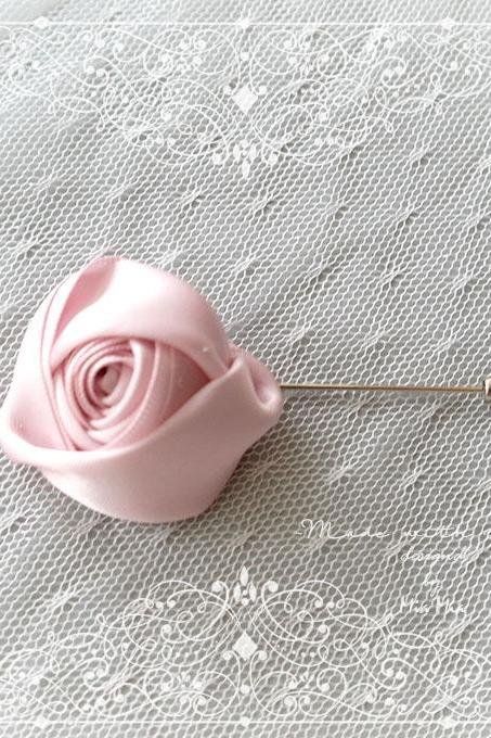 Flower Lapel Pin , Light pink Satin rose Men's Boutonniere , wedding Lapel pin, men suit pin , tie pin brooch accessories Groom