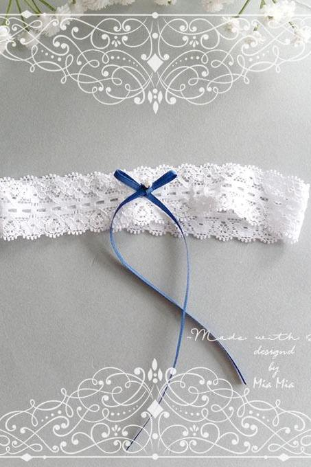 white lace garter, Something Blue Navy Blue Bow Garter , Victorian Bridal lingerie Wedding Garter Belt Prom Honeymoon Keepsake Toss