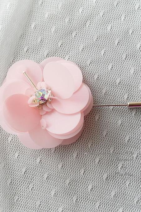 Pink Flower Men's Boutonniere wedding Matt Sequins Rhinestone Lapel pin,hat pin,tie pin brooch accessories tie pin , cufflinks Groom